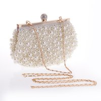 Wholesale Pearl Evening Purses - 2017 Blingbling Pearls Bridal Fashion Hand Bags Ladies Clutch Purse Shoulder Hand Bags For Evening Parties Minaudiere CPA960