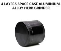 Wholesale Space Case Wholesale - Diameter 55MM Herb Grinder Aluminum Alloy SPACE CASE Tobacco Crusher Spacecase Black Color shredder hand muller