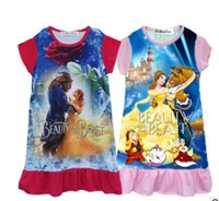 Wholesale Canvas Lines - 2 color New baby girls Beauty and the beast dress cartoon Children printing sleeveless Princess dress Kids Clothing XT