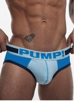 Wholesale Male Pumping - PUMP Brand Male Panties Cotton Briefs Comfortable Breathable Underwear Trunk Addicted Gay Calzoncillos Man Free Shipping ! M-XXL