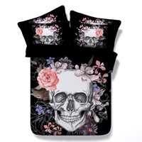 3D Printed black twin quilt - 2017 New Creative Skull Duvet Cover Set PC Spring Summer Bedding Set Quilt Cover Pillowcase Sizes