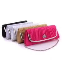 Wholesale Wedding Envelopes Green - Wholesale- New Satin Clutch Bag Woman Selling European And American Fashion Day Clutches Satin Evening Bags Wedding Party Shoulder Bag