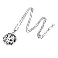 Wholesale Tibetan Silver Pentagrams - Link Chain Religious Knot Moon Pentacle Round Pendant Solom Tibetan Silver Plated Moon Pentacle Pentagram Pendant Necklace Vintage Knot Wic