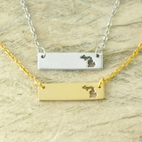 Michigan Bar Necklace Cut Out Colar do mapa Alloy State Necklace Map Charm Pride Mapa grossista pandent