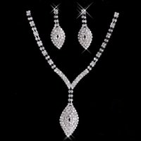 Wholesale Evening Fold - 2017 New Rhinestone Crystals Jewelry Set Cheap Fashion Wedding Evening Prom Formal Accessories Hot Sale Free Shipping Necklace