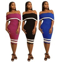 Wholesale Casual Wear For Party - Sexy Summer Dresses 2017 Off Shoulder Knee Length Cheap Casual Gowns for Prom Party Womens Wear