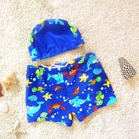 Wholesale Wholesale Board Shorts Clothing - Underwater World Swim Clothes Swim Caps Pants 2pcs Sets Cartoon Car Board Shorts Hot Spring Boy's Swim Trunks Hat Pant Set Swimwear A6436