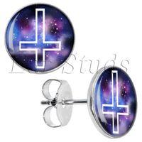 Wholesale Cross Ear Plugs - 50pcs lot Surgical Steel Nebula Cross Ear Stud Earrings Cheater Plugs Diameter 10mm*16g ZCST-028