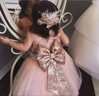 Wholesale christening dresses toddlers - Baby Infant Toddler Birthday Party Dresses Blush Pink Rose Gold Sequins Bow Lace Crew Neck Tea Length Tutu Wedding Flower Girl Dresses 2018