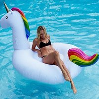 Wholesale Pe Ring - Inflatable Unicorn Swan Swimming Ring Water Float Ride-on Pool Toys Goddess Adult Giant Thicken Swimming Ring Water Raft