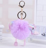 Wholesale Purse Ornaments - Keychain Pendant Bag Charms Handbag Accessories New Cute Unicorn Purse Ornament Rainbow Horse Fur Key Chain