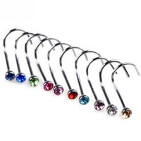 20G 0.8 * 6 * 2mm Grade Titanium Mix Colors Crystal Rhinestone Nostril Screw Nariz Anéis Studs Body Jewelry BJ6201