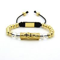 ingrosso cuori d'ottone-Monili potenti all'ingrosso perline di alta qualità in ottone dorato da 6mm con bracciali Macrame con tubo nero a cuore grande