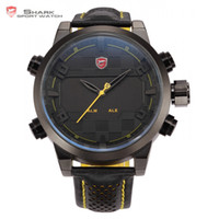 Wholesale Mens Watches Shark - Wholesale- Sawback Angel Shark Sport Watch Mens Black Yellow Digital Dual Movement 3D Logo Steel Case LED Watches Leather Wristwatch  SH204
