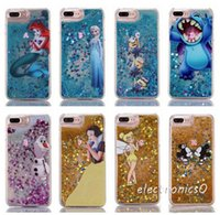Wholesale Iphone Case Bling Mix - Liquid Bling Glitter Hard PC Case For Iphone 7Plus Stitch Frozen Mickey Mouse Snow White Quicksand Cartoon Sparkle Cover Skin DHL shipping