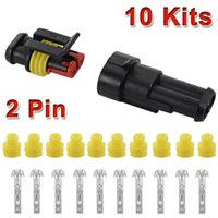 Wholesale Electrical Cars - 10 Kit 2 Pin Way Waterproof Car ATV Electrical Wire Connector Plug cable 12v For Car LSR0005