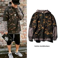 Wholesale Grey Men Long Coat - Camouflage Hip-Hop Hoodie Men Skateboard Sweatshirt Pullover Sudadera Hombre Lovers Coat Grey Black Khaki Plus Size 2XL