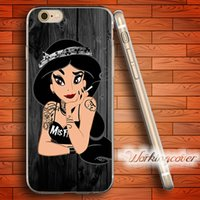 Barato Caso Do Iphone Da Princesa Do Silicone-Capa Princess Jasmine Soft Clear capa TPU para iPhone 6 6S 7 Plus 5S SE 5 5C 4S 4 capa de silicone caso.