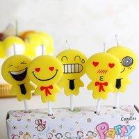 Wholesale 5pcs cm creative non smoking cartoon candle baby birthday party cake decorating han style small yellow people candles on sale