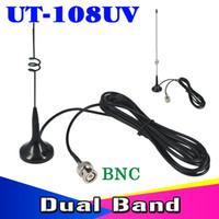 Wholesale Bnc Band Antenna - 3M Dual band Antenna UT-108UV 144 430MHz Magnetic Vehicle-mounted High Gain Antenna for car BNC for walkie talkie IC-V8 IC-V82