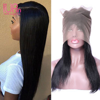 Wholesale Dyed Peruvian Lace Closure - IUPin Hair Peruvian Non Remy Straight Hair 360 Lace Frontal Closure With Baby Hair Pre Plucked Hairline Natural Color Can Be Dyed