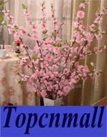 ingrosso peschi artificiali-100pcs artificiale ciliegia primavera prugna fiore ramo ramo fiore di seta albero per la decorazione della festa nuziale bianco rosso giallo colore rosa