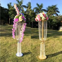Wholesale Tall Crystal Stands - 100cm Tall Acrylic Crystal Wedding Centerpiece Road Lead Stand Dinner Party Table Decoration Candlestick 10 Sets