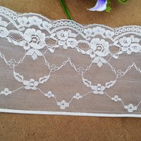 Wholesale Elastic Stretch Lace Trim - Free shipping 12cm Stretch Off White Lace Trim(EL022) Elastic Eyelet Ribbon Lace 15 yds lot Dresses Lace Fabric wedding decor