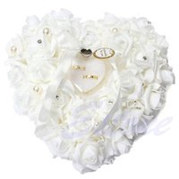 Wholesale Heart Shaped Wedding Ring Cushion - Wholesale- Romantic White Rose Wedding Pillow Favor Heart Shaped Jewelry Gift Ring Box Cushion Wedding Decor