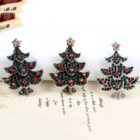 Wholesale Vintage Tree Pin - Vintage Christmas Brooch Rhinestone Brooches New Arrival Christmas Trees Brooch And Pin Clothes Decor Christmas Gifts