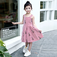 Wholesale Baby Red Striped Dress - Everweekend Girls Cartoon Embroidered Striped Ruffles Dress Cute Baby Red Color Clothes Princess Summer Holiday Clothing