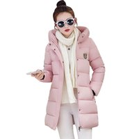 Wholesale Slim Jacket For Female - 10 Color New Winter Down Cotton Jacket Female Plus Size Womens Hooded Slim Thick Parkas For Women Winter winterjas dames YT192