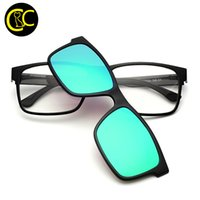 Wholesale rectangle magnets - Wholesale- CLEARCODE Magnet Attached Double Use Sunglasses Wear Over Prescription Glasses Polarized TR90 Clip On Myopia Sunglasses CC0881