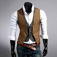 Wholesale Designer Business Suits Men - Wholesale- Casual Men Suit Vest 2017 Hot Slim Fit Fashion Designer Brand Formal Business Dress Waistcoat men's clothing