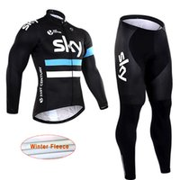 Wholesale Sky Team Cycling Jersey Winter - 2017 SKY Team Men's Cycling Jerseys Set, Winter Thermal Fleece Bicycle Clothing Men Bicycle Clothing Bike Clothes Bike Jersey D1317