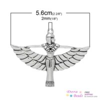 Wholesale Coin Cans - Charm Pendants Egyptian Queen ( Can Hold ss6 Rhinestone) Antique Silver 5.6cm x 4.2cm,10PCs (B34322) silver