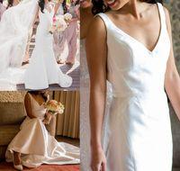 Wholesale Grace Sheath Wedding Dress - 2017 Grace Satin White Sheath Wedding Dresses Elegant V Neckline Slim Draped Bridal Dresses Court Train Custom Made High Quality