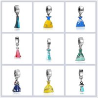 Wholesale Dresses Loose Beads - 2017 50pcs lot fairy tale Snow White dress Loose beads pendant necklace DIY bracelet accessories Jewelry For Women wholesale Free shipping