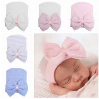 Wholesale cotton baby beanie - baby girls hair bows hat newborn crochet beanie hats toddler kid knit hair accessories infant boy bonnet baby winter cotton photography caps