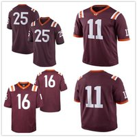 Wholesale Fox 11 - Custom Virginia Tech Hokies #11 Jack Click #16 Coleman Fox 17 Chancellor White Marroon Red Stitched Adult College Football Jerseys S-3XL