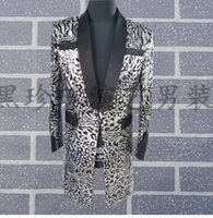 Wholesale Grey Blazers For Men - Personality men suits designs masculino homme terno stage costumes for singers men sequin blazer dance clothes jacket dress grey