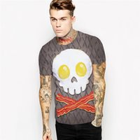 Wholesale Dry Meat - Omelette skull T shirt Meat food short sleeve Street style tees Cool printing clothing Unisex cotton Tshirt