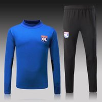 Wholesale Training Suits For Men - 2017 18 France Real Free Shipping 2017 new Lyon for Champions League Training Suit Tracksuit Sweatshirts jerseys plus velvet