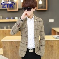 Wholesale Light Yellow Blazer Men - Autumn Winter window check pattern woolen men slim fit suit blazer three color yellow light grey blue