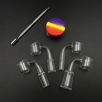 Wholesale Free Style Club - 2mm Quartz Club Banger Style Domeless Quartz nail 14mm 18mm 10mm female male Joint with Free Silicone Jar and Wax Dabber Tool
