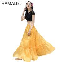 Wholesale Long Chiffon Expansion Skirt - HAMALIEL Fashion Women Chiffon Maxi Skirt Elastic High Waist Long Bohemian Skirt New 2017 Summer 11 Colors Soft Expansion Skirt