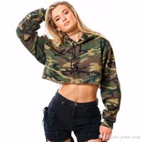 Wholesale Thick Wide Belt - Spring Women Casual Camouflage Hoodies Fashion Autumn Print Pullover Hooded Long Sleeve Cropped Top Loose Short Sweatshirt