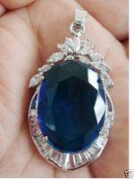 tansanit silber anhänger großhandel-Perlen und Jade Tibetischen Silberschmuck Exquisite blaue Turmalin Tansanit Anhänger Halskette