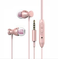 Wholesale Iphone Plug Headphones - Explosion - proof metal headphones ear - style subwoofer phone headset magnetic tape control with wheat ear plug general cross - border