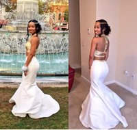 Wholesale rachel allan mermaid prom dresses for sale - Group buy White Gold Mermaid Prom Dresses High Neck Crystal Beaded Satin Backless Two Pieces Homecoming Dresses Rachel Allan K17 Party Dress
